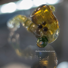 yellow and green glass sherlock pipe